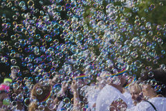 Bubbles At the Color Run Royalty Free Stock Image