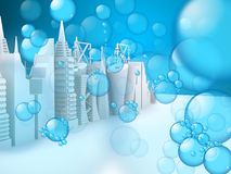 Bubbles on 3d Buildings Royalty Free Stock Photos