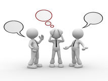 Bubbles. 3d people - men, person talking with one worried and blank bubbles Stock Image