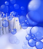 Bubbles on 3d Skylines Royalty Free Stock Photography