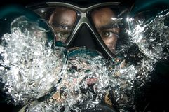 Bubbles, Dive, Diver Royalty Free Stock Photography