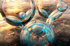 Bubbles fantasy 3d. Abstract illustration, sunset sky backdrop Royalty Free Illustration