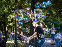 Bubbles by the Florian Gate on of the city gates in Krakow Poland Stock Photo