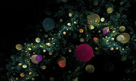 Bubbles fractal background. Colorful circular bubbles fractal background on black Vector Illustration