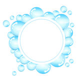 Bubbles frame for text. Round background with shiny soap bubbles and space for text Stock Images