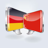 Bubbles with Germany and China. And translation Royalty Free Stock Images
