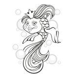 bubbles guldfisken Svartvit illustration för vektor Arkivbilder