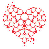Bubbles Heart. Love symbol red Heart with bubbles decorative element Stock Images