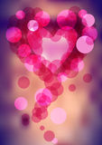 Bubbles and heart silhouette on blurry background. Pink illustration of bubbles and heart silhouette on blurry background Royalty Free Stock Photography