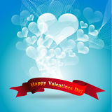 Bubbles Heart. Valentine's day card on blue background Royalty Free Stock Images