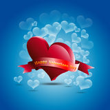 Bubbles Heart. Valentine's day card on blue background Royalty Free Stock Image