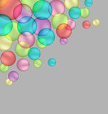 Bubbles isolated on grey. Multicolored bubbles isolated on grey background stock illustration