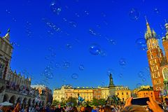 Bubbles in Krakow. Love in Krakow Stock Photo