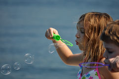 Bubbles at the lake Stock Images
