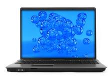 Bubbles on laptop screen Stock Photo