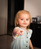 The bubbles. Little girl 2 years old have fun in her home with soap bubbles Royalty Free Stock Photo