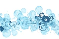 Bubbles Ornament. Light Blue  with Dark Blue Floral Ornaments. Cool Design Royalty Free Stock Photography