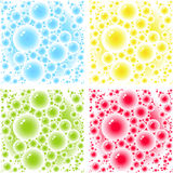 Bubbles patterns. Red, green, blue, yellow bubbles - of water, soap, juice, beer, wine, more - for use as design elements, background, or seamless pattern Royalty Free Stock Photos