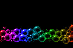 Bubbles in rainbow colors bakground Stock Photos