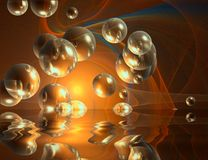 Bubbles and reflection abstract colored background Stock Images