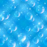 Bubbles seamless on blue Stock Photo