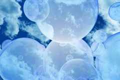 Bubbles in the Sky. Flying Bubbles on the Sky Background. Abstract Fantasy Background vector illustration
