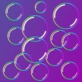 Bubbles soap. Pink background. Neon style. Rainbow stock illustration