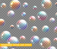Bubbles soap realistic set isolated with transparent background vector illustration. Soap bubble rainbow reflection stock illustration
