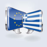 Bubbles and speech in European and Greek. And friendship Royalty Free Stock Photo