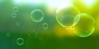 Bubbles on a Sunny Day. Soap bubbles floating about on a sunny afternoon stock illustration