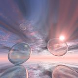 Bubbles Sunset. Abstract Space Bubbles with star shining through Royalty Free Stock Photo