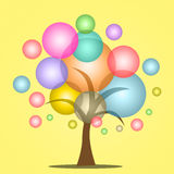 Bubbles tree. Flying colorful bubbles making tree look Stock Photography