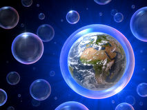 Bubbles universe. There are so many bubbles but only one is our home, 3D concept Royalty Free Stock Images