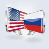 Bubbles with USA and Russia. And peace talks Royalty Free Stock Photo