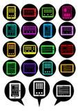 bubbles vektorn för tableten för symbolsPCanförande royaltyfri illustrationer
