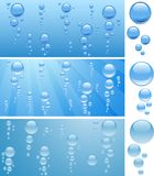 Bubbles in water. Three aquariums with bubbles. Vector illustration