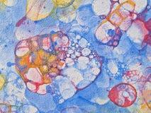 Bubbles watercolor blue. Watercolor hand drawn bubbles colorful soap froth Stock Photos