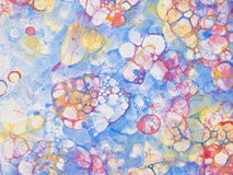 Bubbles watercolor childish. Watercolor hand drawn bubbles colorful soap froth Stock Photos