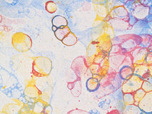 Bubbles watercolor light. Watercolor hand drawn bubbles colorful soap froth Stock Photos