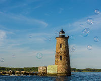 Bubbles at Whaleback Light Royalty Free Stock Image