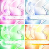 Bubbles wishing card in 4 colours. Wishing card with bubbles, waves and text space in 4 different colours Stock Photo