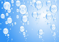 Bubbles with Zodiac sings Stock Images