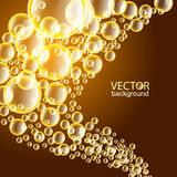 BubblesBackground. Group of yellow shiny bubbles on the brown background Stock Images