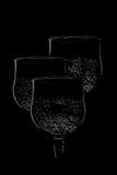 bubbliga drinkwineglasses Fotografering för Bildbyråer