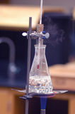 Bubbling beaker. Water boiling in a beaker on a bunsen burner in a laboratory Royalty Free Stock Images