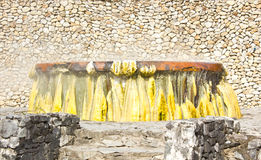 Bubbling Geyser with coloful limestone. Ruksaarin hot sping park, Ranong, Thailand Royalty Free Stock Images