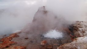 Bubbling geyser in El Tatio Geyser valley, 4320 meters above sea level. One of the major tourist attractions in Chile stock video footage