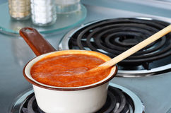 Soup in Vintage Sauce Pan Stock Photo
