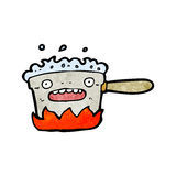 Bubbling kitchen pot cartoon Stock Photography