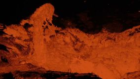 Bubbling lava lake of Volcano Erta Ale stock footage